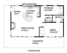 1 Bedroom House Plans, Pool House Plans, Small House Floor Plans, Cabin Floor Plans, Pole Barn Homes, Pole Barns, Cottage House Plans, Tiny House Living, Tiny House Design