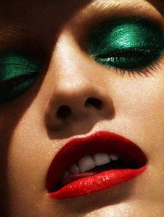 #green #shadow #red #lips #vixen