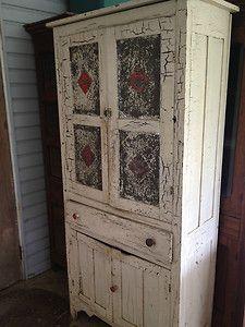 Antique Pie Safe Prices   Primitive Antique Pie Safe With White And Red  Paint Amazing Primitive