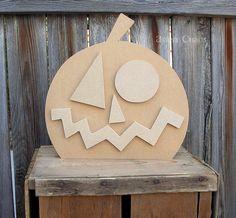 Unfinished Wood Large JACK O'LANTERN PUMPKIN by artsychaos on Etsy, $11.99
