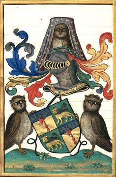 """Armes d'alliance Pichelin/? (f°77). -- «Extraict de la généalogie de la famille des Pichelins, faiz vertueulx et chevaleureux d'iceulx», par Jean-Baptiste de Pichelin, sgr de Villemanoche, 1501-1600 [BNF Ms Fr Français 6018]. -- """"de sinople au lion passant d'or, couronné et mantelé d'argent""""."""
