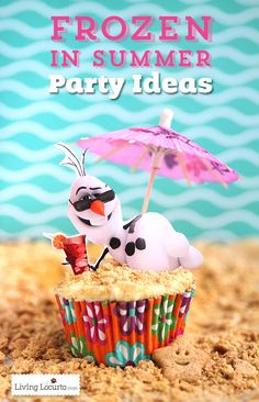 Disney Frozen in Summer Birthday Party Ideas! Olaf finally gets to enjoy the beach. Fun food ideas, cupcakes, printables and games for the beach, luau. Olaf Party, Frozen Themed Birthday Party, Disney Frozen Birthday, Carnival Birthday Parties, Summer Birthday, Birthday Party Games, Frozen Party, Turtle Birthday, Turtle Party