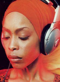 erykah badu with headphones