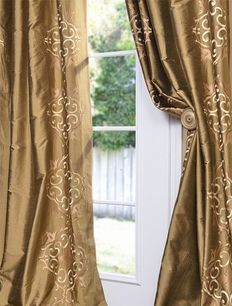 Cassandra Taupe Gold Silk Curtains & Drapes