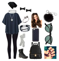 """""""Black, Grey, And Green"""" by theoptimist01 ❤ liked on Polyvore featuring Uniqlo, Michael Kors, Tory Burch, Pandora, Marc by Marc Jacobs, Joy Everley, Ray-Ban and MICHAEL Michael Kors"""