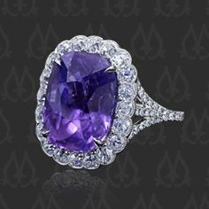 Love the vintage look of this ring! Couture Purple Sapphire -- Micropave by Leon Mege