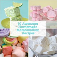 10 Awesome Homemade Marshmallow Recipes! These sounds best: Carrot Cake, Puffy Cloud S'mores, Margarita!