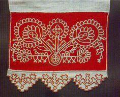 Käspaikka from Karelia, Finland Folk Embroidery, Floral Embroidery, Cross Stitch Embroidery, Embroidery Patterns, Russian Folk, Embroidery Techniques, Textile Art, Blackwork, Finland