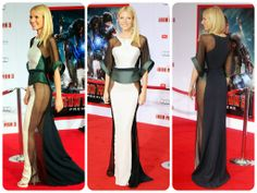 Gwyneth Paltrow wearing a sheer Antonio Berardi gown at the Hollywood premiere of Iron Man 3.