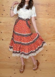 Vintage 70's Skirt Gunne Sax Prairie Skirt Calico by ThatchVintage, $38.00