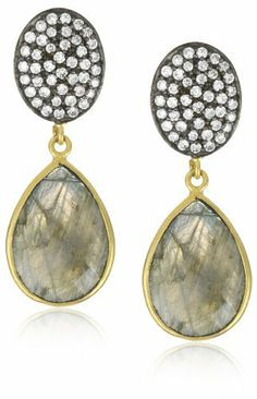 """Kanupriya """"Heritage Collection"""" 22k Gold-Plated Labradorite Earrings Kanupriya. $150.00. Made in India. Handcrafted and feather light to wear. All designs are handmade, unique and one of a kind, so each stone may vary in size, shape and color. Cocktail earring with pave set cubic zirconia and labradorite"""