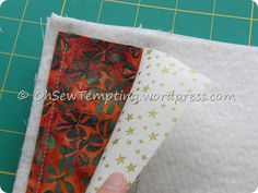 This is my favourite way to make a mug rug as there is no need to quilt it at the end. You will need: Backing fabric 11 x 9 inches Wadding 11 x 9 inches (you may wish to use heat resistant wadding … Quilting Tips, Quilting Tutorials, Quilting Projects, Sewing Projects, Sewing Ideas, Sewing Tips, Craft Projects, Craft Ideas, Mug Rug Patterns