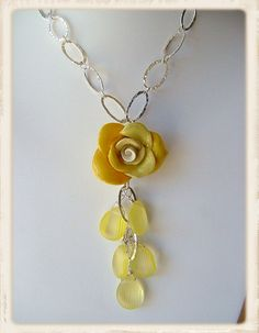 Polymer Clay handformed rose & vintage beads by Social Butterfly Jewellery, via Flickr