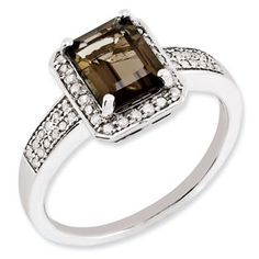Emerald Cut Smokey Quartz Diamond Sterling Silver Ring Available Exclusively at Gemologica.com