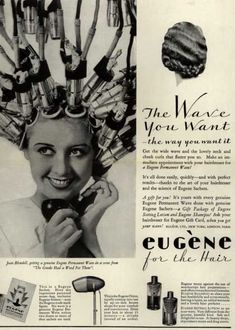 Joan Blondell for Eugene Permanent Waves Beauty Ad, Beauty Shop, Hair Beauty, Vintage Hair Salons, Permanent Waves, 1930s Hair, Retro Updo, Old Advertisements, Advertising