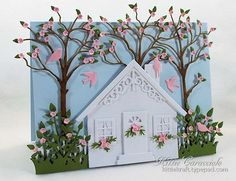 KC-Another Home Sweet Home received the new Memory Box Small Forest Archway and couldn't wait to use it on a project. .. adding some leaves and flowers.. the perfect backdrop for a house scene. I created the house and yard using the Impression Obsession Brick and Square House sets, Fence Border, Small Grass Border and Small Bird Set.  The leaves and flowers were made using the tiny flowers from the Elizabeth Craft Designs Susan Garden Notes Sunflower and the tiny leaves.