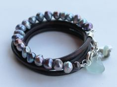 Pearl Leather wrap bracelet sea glass silver by ShopChickpeaStudio