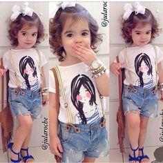 Princess Girls Kids Top Shirt+Bib Pants Shorts Outfit Set Cartoon Costume Clothes