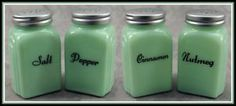 JADEITE GREEN GLASS 4 PC ARCH SPICE JAR SHAKER SET Salt Pepper Nutmeg Cinnamon