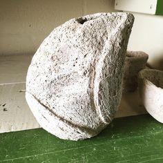 Perfect fit. Sake pitcher.  #clay #carved #ceramics #stoneware #kurinuki #greenware ready for #bisquefiring and then #glazing and #anagama kiln #woodfiring  #jimbelcher350