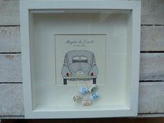 Geldgeschenke - Geldgeschenk zur Hochzeit, Rahmen mit Bild Auto - ein Designerstück von Kartentraeume-ORS bei DaWanda