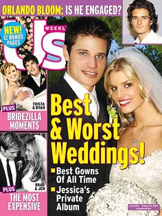 Jessica Simpson and Nick Lachey pose on the October 18, 2004 cover of 'Us Weekly' magazine