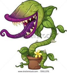 Cartoon carnivorous plant. Vector illustration with simple gradients. All in a single layer. by Memo Angeles, via Shutterstock