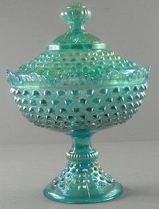 Fenton Teal Green Iridescent Hobnail Covered Compote  cgi.ebay.com/...