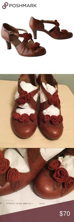 """NIB Miss Albright Leather Heels (Anthropologie) Bouquet of Roses Heels - new in box  Miss Albright gathers her favorite flowers onto the crisscross straps of this fresh-cut leather pair. Adjustable buckle Leather upper Synthetic sole, insole 2.25"""" heel Brazil Style No. 940071 Miss Albright Shoes Heels"""