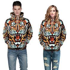 Fashion Stylish Punk Digital Print 3D Tiger Head-Pattern Hoodie #Affiliate
