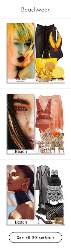 """""""Beachwear"""" by bibiantje-m on Polyvore featuring mode, onepieceswimsuit, coverups, beachtotes, GetTheLook, Swimsuits, H&M en Balmain"""