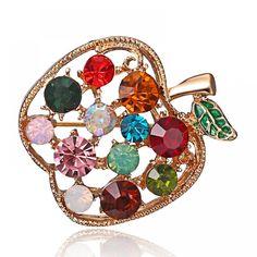 Full Rhinestone Apple Brooches For Women Shinnig Summer Brooch Pin Dress Coat Hat Broches Luxury Bijouterie Jewelry - silver Cute Jewelry, Jewelry Sets, Jewelry Accessories, Vintage Jewelry, Women's Brooches, Coat Dress, Brooch Pin, Fashion Jewelry, Bling