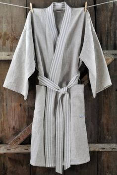 Bath robe - natural grey linen bathrobe, unisex  - size S, M, L, XL, XXL - Ready to ship. $59.00, via Etsy.