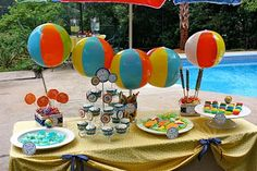 Pool Party Birthday - Use beach balls instead of balloons for decorations! Find more summer party ideas at http://www.birthdayinabox.com/party-ideas/guides.asp?bgs=3