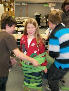 Tree relay: Give each team a roll of tissue paper and ornaments. They decorate one person from their team to look like a Christmas tree.