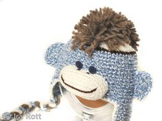 Handmade crocheted blue sock monkey hat for kids.  Your kids will go bananas for this unique monkey hat.