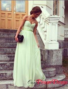 Sheath straps v-neck sash sage long Prom Dresses POPM370