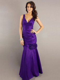 Wholesale Floral Mermaid V-Neck Floor Length Taffeta Bridesmaid / Evening Dress Barrie Cheap Shop