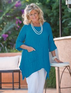 Grizas turquoise silk/linen pocket top