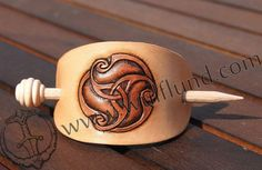 La Tene motive, leather hair brooch, Celtic Style