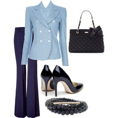 Business Blue, navy slacks, light blue jacket and blouse, navy beads, bag, and patent leather pumps