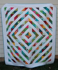 Free Big Block Quilt Patterns | love this windmills quilt in blues and reds by all things nice
