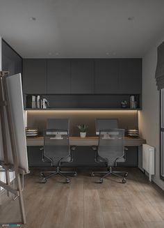 Home Office Layouts, Home Office Space, Home Office Decor, Home Decor, Small Office Design, Office Interior Design, Office Interiors, Modern Home Offices, Small Home Offices