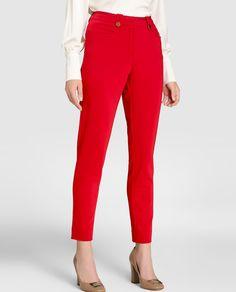Resultado de imagen de pantalones formales rojos para dama