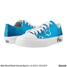 Blue Floral Flash Custom Zipz Low Top Kickers