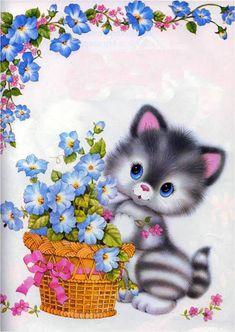 Flower basket cat