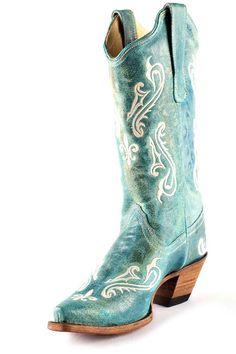 Corral Turquoise Fleur De Lis Cowgirl Boots