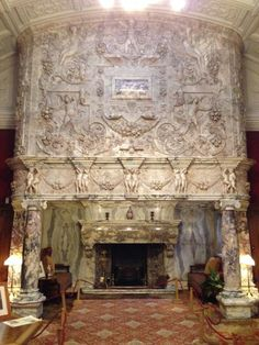 The fireplace in the Drawing room, which has the most stunning carving in the fireplace.Although the fireplace was large enough for twelve people to meet in the … Fireplace Mantle, Fireplace Design, Diy Interior Home Design, Medieval Home Decor, Rustic Stone, Cool Lamps, Antique Interior, Hearth And Home, Boiler