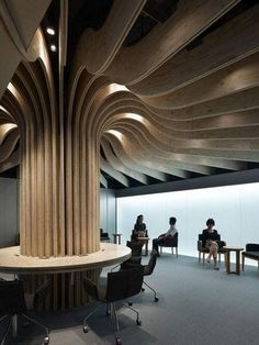 Japanese architect Takao Shiotsuka designed a lounge inside the Oita Airport in… Ceiling Decor, Ceiling Design, Architecture Details, Interior Architecture, Cafe Design, House Design, Pillar Design, Airport Design, Interior Columns