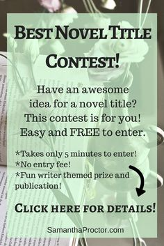 Writing Contest! Want to enter your novel title for a chance to win an awesome prize? This writing contest is for you!